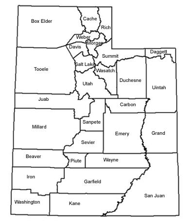 Utah Rare Plant Guide Species Descriptions - Map of utah county